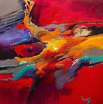 Tableau Abstrait Rouge Carré, Dimensions 80/80 Cm, Peinture ...