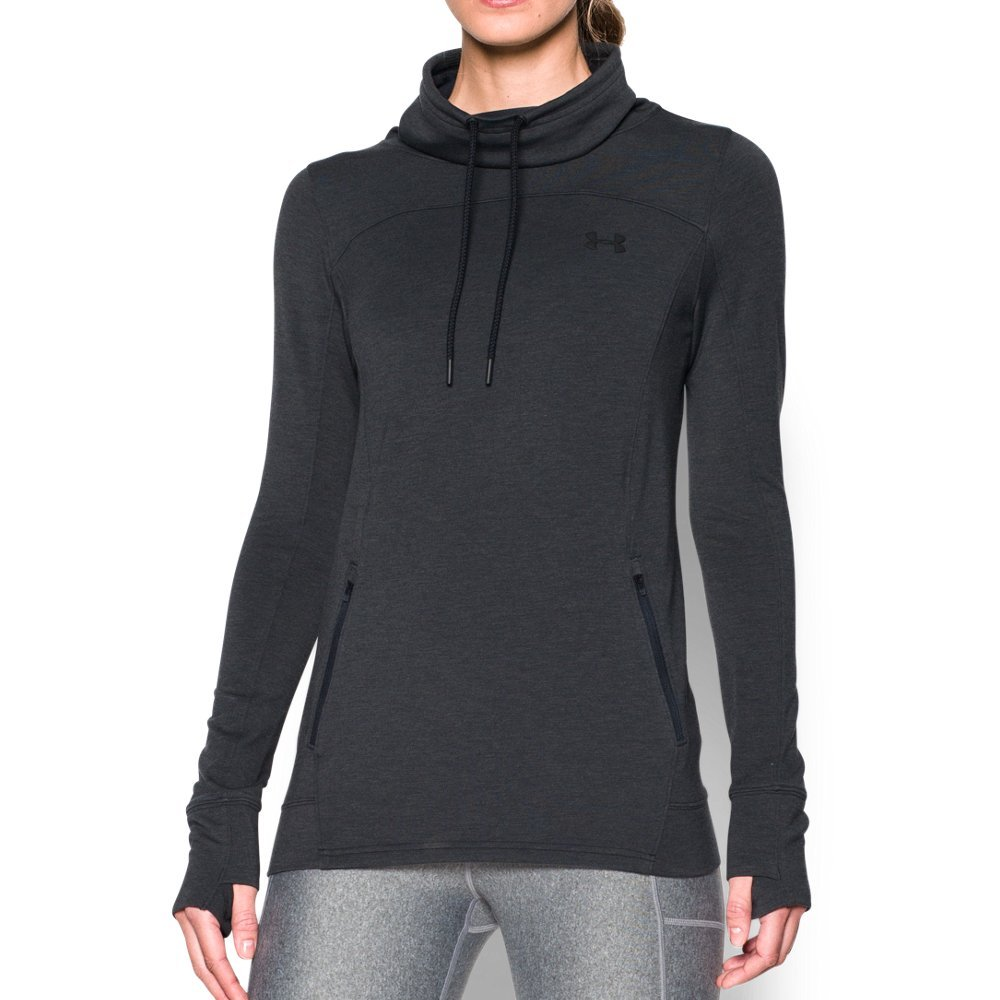 Under Armour Women's Featherweight Fleece Slouchy Popover,Black (002)/Graphite, Small