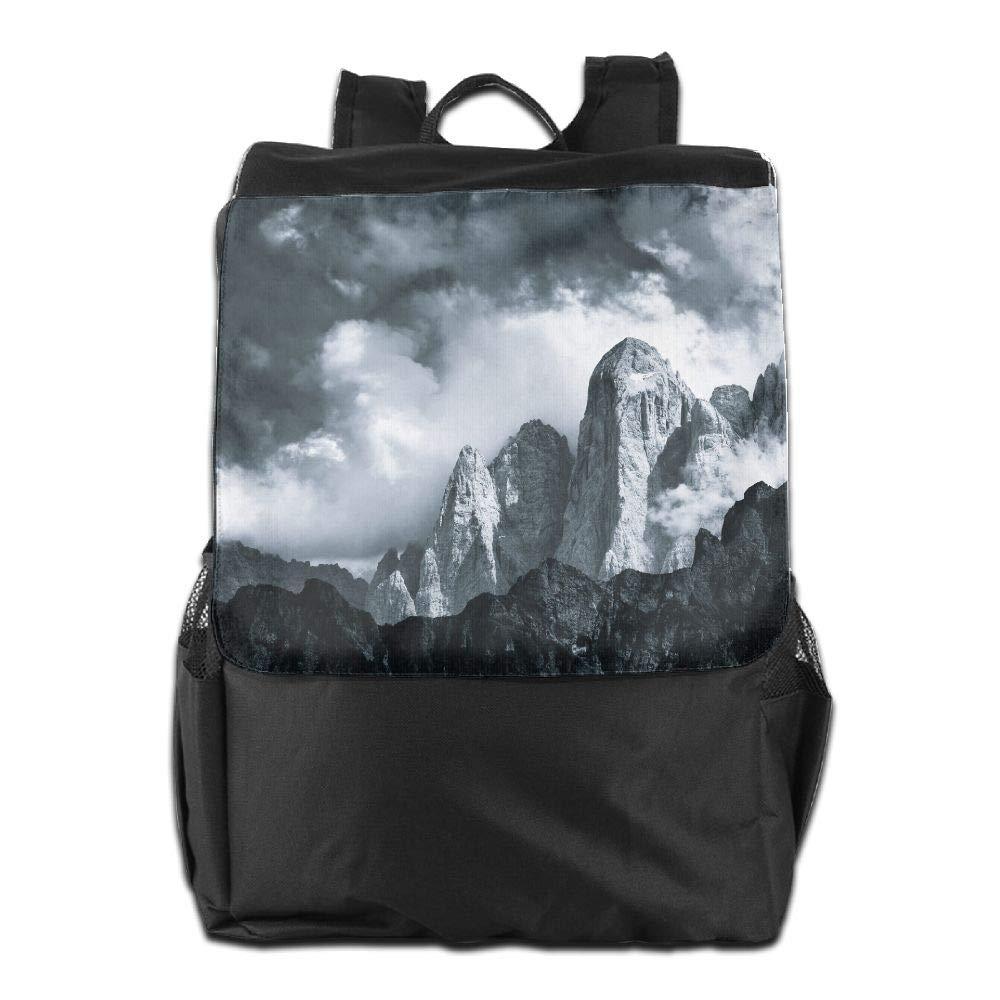 Photography Monochrome Nature Landscape Mountains Clouds Jakub Polomski Italy Dolomites Unisex Casual Hiking Backpack