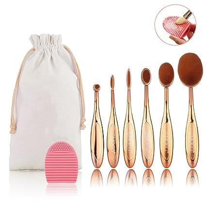 Set de cepillo de maquillaje Pro 6 piezas Oval Rosa cepillo de dientes de oro Diseño