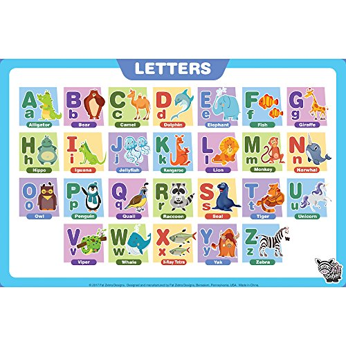 Fat Zebra Designs Educational Placemats - Set of 5 Learning Placemats: Letters, Numbers, Shapes, Addition & Month/Days/Seasons - Easy Clean, Durable & Reusable Kids Table Mats - 12x17 Inches by Fat Zebra Designs (Image #1)
