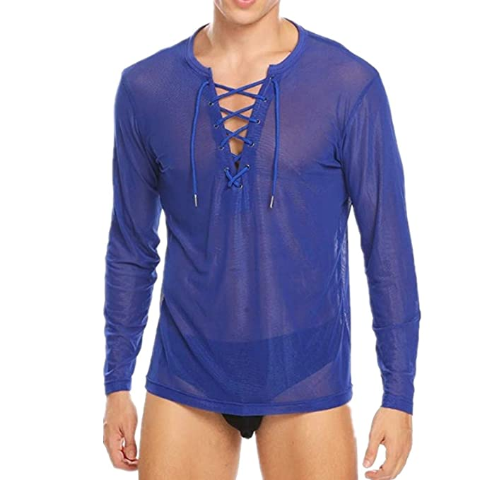 1261322928d5 iiniim Herren Langarm Shirt Transparent Mesh Slim Fit T-Shirt Männer Tops  Reizvoll Party Club Shirt Unterwäsche M-XL  Amazon.de  Bekleidung