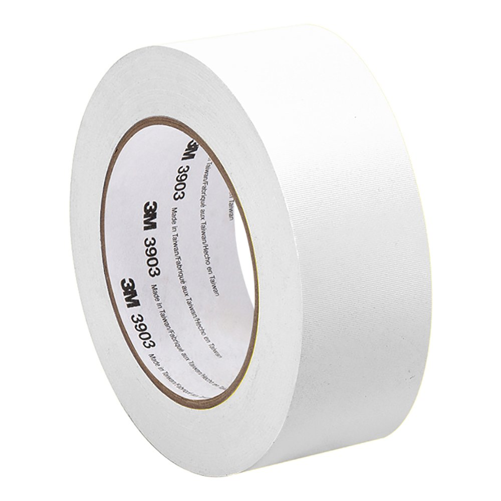 3M White Vinyl/Rubber Adhesive Duct Tape 3903, 2-50-3903-WHITE 12.6 psi Tensile Strength, 50 yd. length, 2'' width
