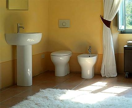 Sanitari bagno vaso a terra,bidet,lavabo con colonna,coprivaso,Grace ...