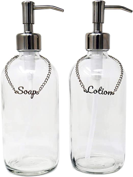 Amazon Com Kreashen Soap And Lotion Dispenser Set With Soap Lotion Label Tags Stainless Steel Pump Bathroom Vanity For Farmhouse Vintage Modern Decor Chrome Kitchen Dining