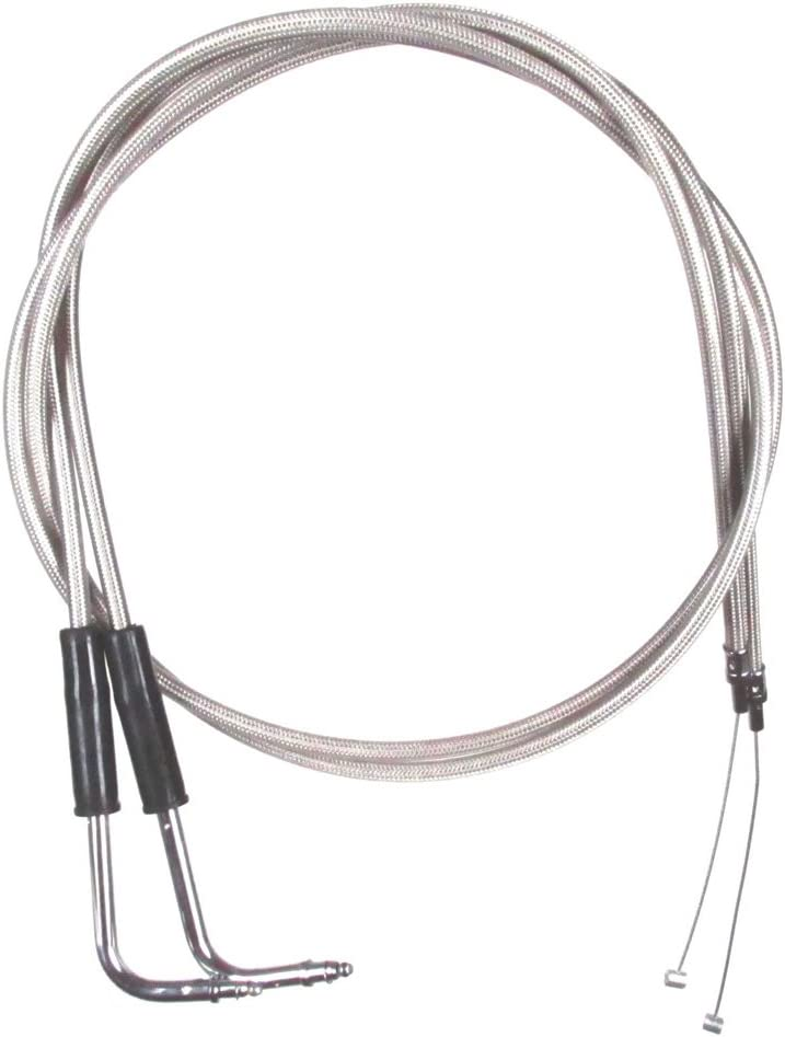 12 Throttle Cable Set for 2002-2007 Harley-Davidson Electra Glide models without Cruise HC-1073-0620-EGC Stainless Braided