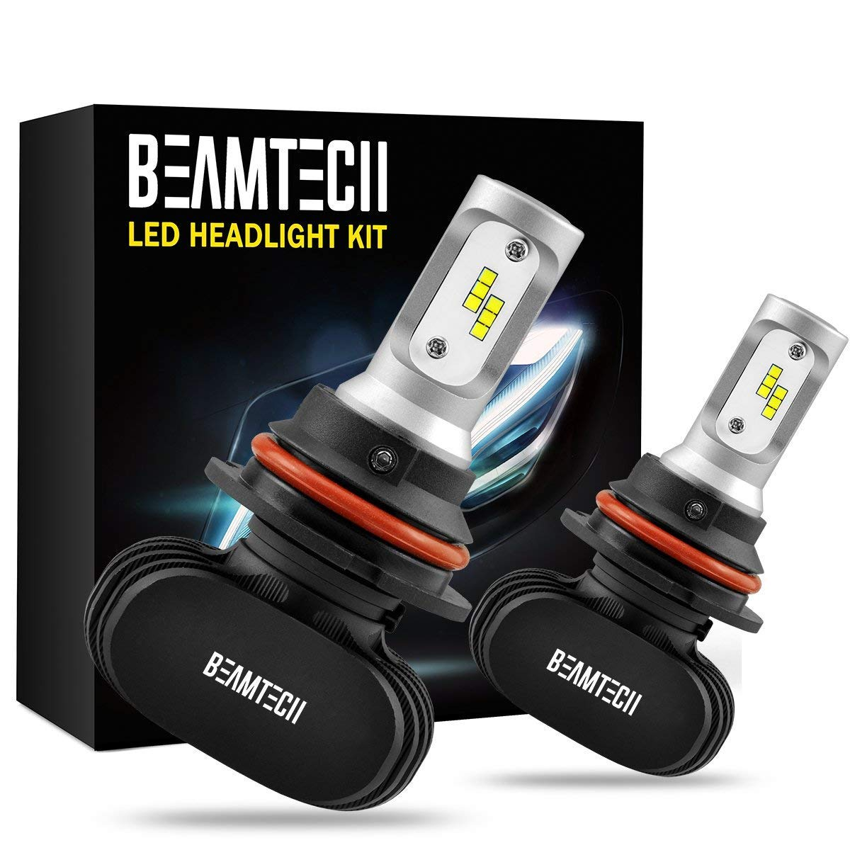 BEAMTECH 9007 LED Headlight Bulb,CSP Chips 50W 8000 Lumens 6500K Xenon White Extremely Bright Conversion Kit of 2 by BEAMTECH (Image #1)