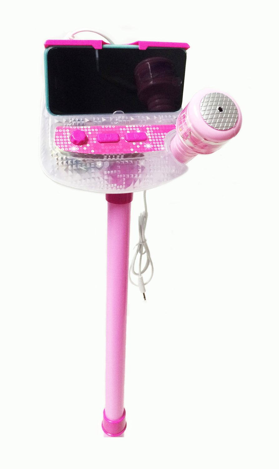 Kids Karaoke Sing Along Stage Microphone - Flashing Lights with Auxiliary Cable to Connect to Your Mp3 & Smart Devices - Adjustable Mic Stand by MTT (Image #3)