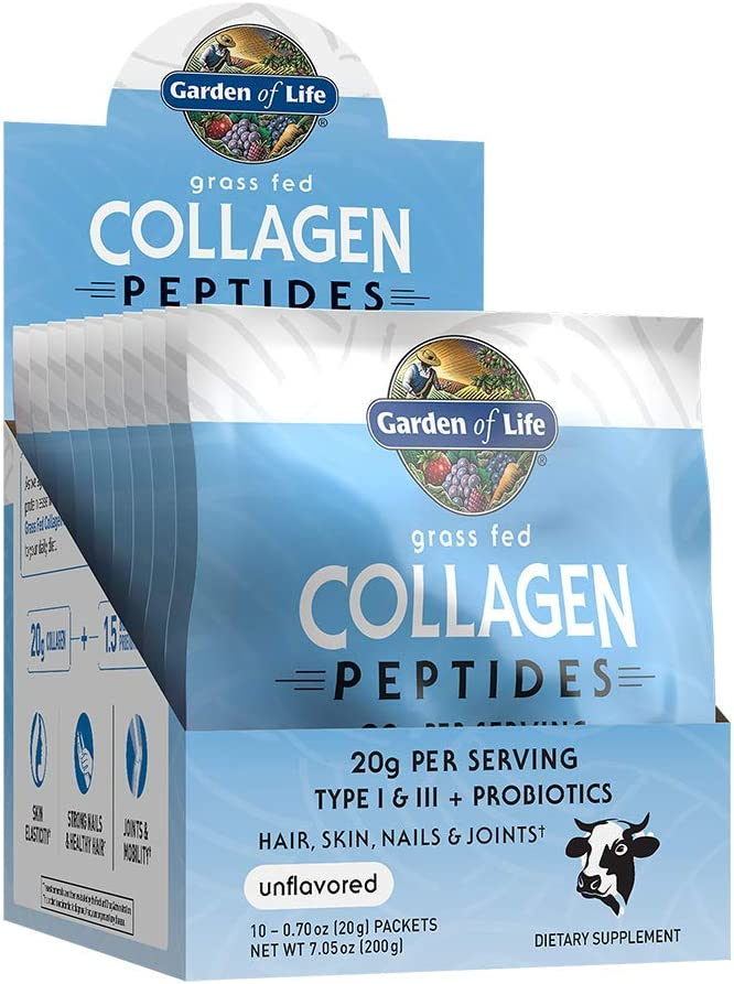 Garden of Life Grass Fed Collagen Peptides Powder - Unflavored Packets, 10 Servings, Collagen Powder for Women Men Hair Skin Nails Joints, Collagen Protein Powder, Collagen Supplements, Hydrolyzed