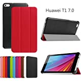 Custodia per HuaWei MediaPad T1 7.0, DEENOR PU pelle Ultra sottile con Smart Auto Sonno / Sveglia la Funzione Custodia Cover per HuaWei MediaPad T1 7.0. (RED)