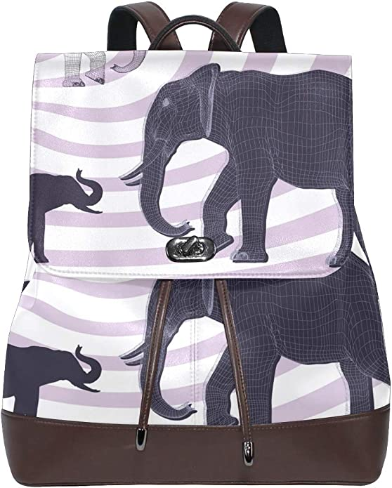 KEAKIA Women PU Leather Indian Elephant Backpack Purse Travel School Shoulder Bag Casual Daypack