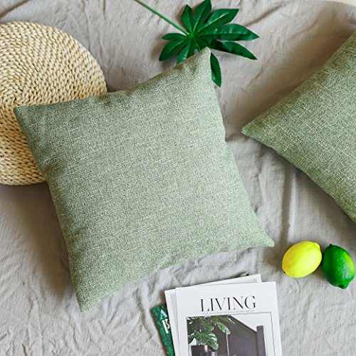 Euro Sham Green - UGASA Decorative Lined Linen Pillow Cover Euro Throw Pillow Case Sham Toss Cushion Covers Couch, Invisible Zipper, Set of 2, 18x18 inches, Fresh Green