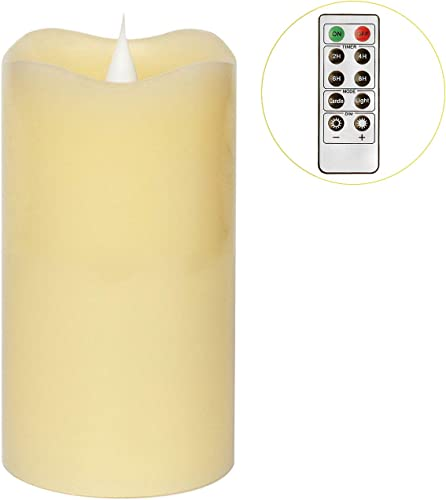 3D Moving Flame Led Candle With Timer, Pillar Flamless Candle for Christmas Decoration, 3×5 Inch, Ivory
