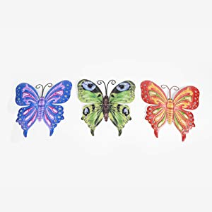 Funlive Metal Wall Art Inspirational Butterfly Wall Decor Sculpture Hang Indoor Outdoor for Home, Bedroom, Living Room, Office, Wall Art Set of 3