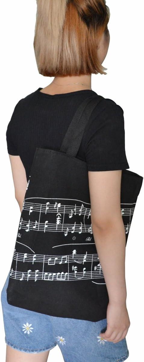 tema note musicali Black KingPoint Borsa shopping da donna in cotone spesso