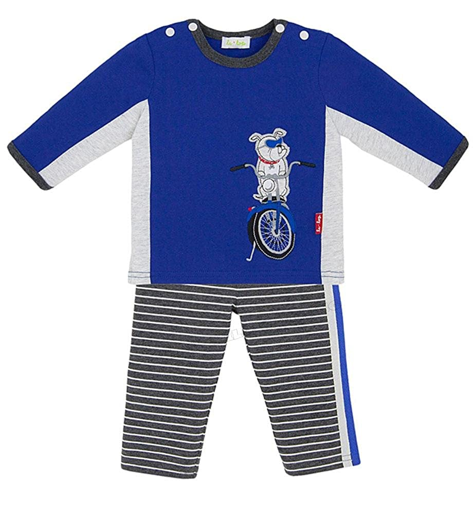 le top Baby Boy Cobalt Blue Vroom Motorcycle Pant and Shirt Set