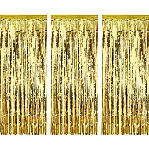 Sumind 3 Pack Metallic Tinsel Curtains, Foil Fringe Shimmer Curtain Door Window Decoration for Birthday Wedding Party (Gold)]()