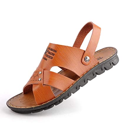ae09baef476c Amazon.com  Hy Mens Leather Sandals Strap Summer Holiday Beach Slippers  Shoes Non-Slip Hiking Sandals