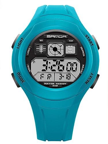 SANDA - Reloj Digital LED Resistente al Agua Infantil Cronómetro Múltiples Funciones para Niños Estudiantes Unisex - Azul Claro: Amazon.es: Relojes