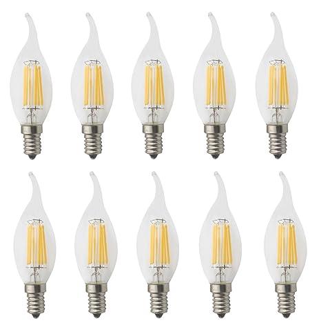 jcking AC 220 V 6 W E14 LED de intensidad regulable bombillas de filamento vela punta ...