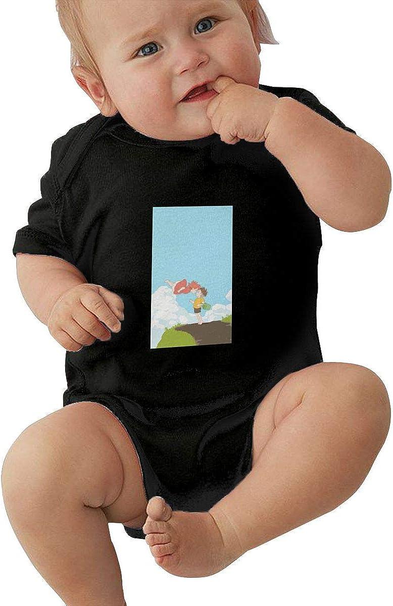 EVE JOHN Miyazaki Anime Baby Girl Jersey Bodysuit Comfortable Black