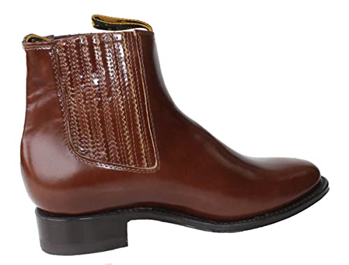 Mens Cowboy Genuine Smooth Cowhide Leather Short Ankle Western Rodeo Biker Boots_Brown_8