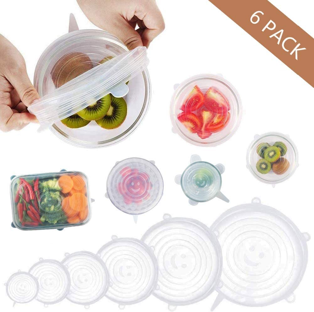 Silicone Stretch Lids, 6 PCS Silicone Lids Stretch for Bowl, Seal Stretchy Reusable Durable Silicone Lids, Keep Food Fresh and Easy to Clean, Microwave, Oven& Dishwasher-Safe …