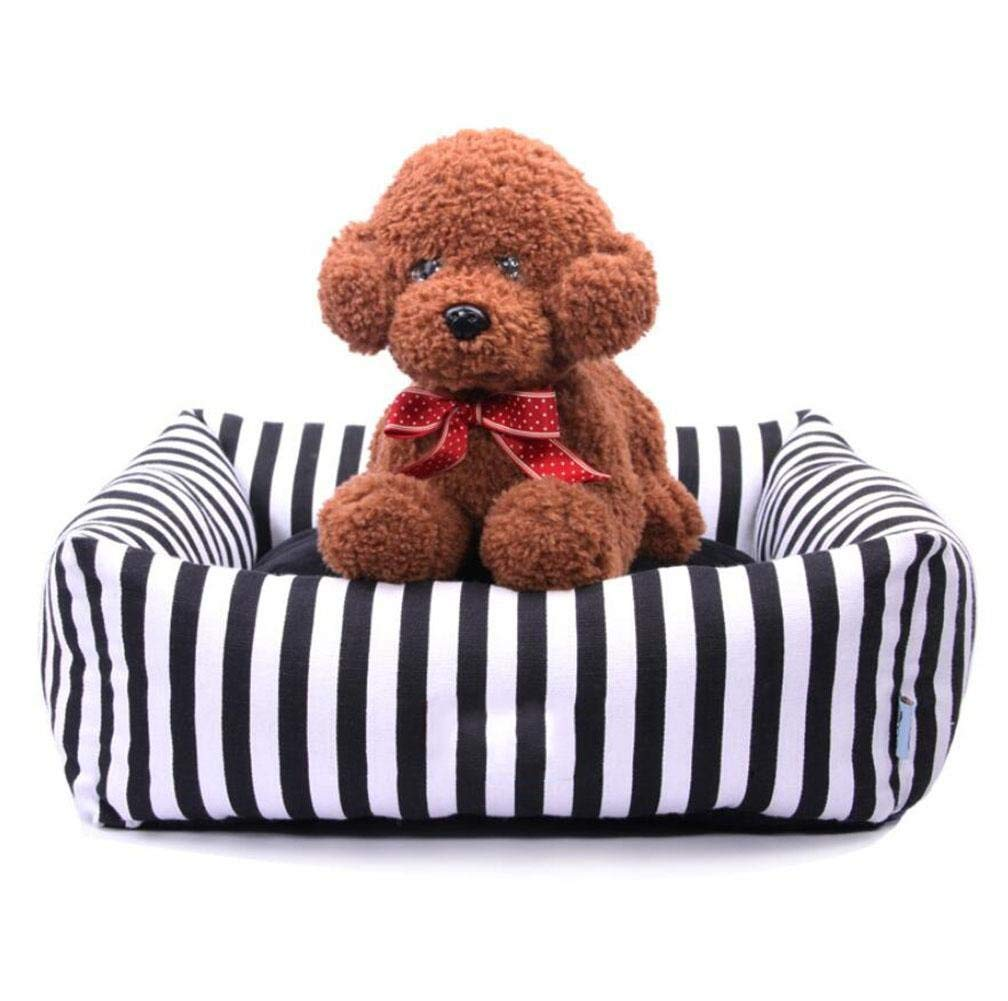 M ZHAS Black and white striped square doghouse with padded bed and removable sofa