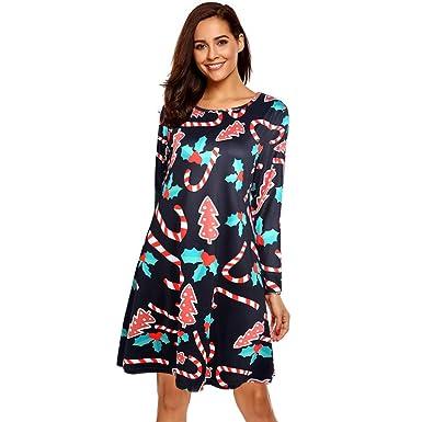 bfae003245f5 Weihnachten Kleider Damen UFODB Frauen Weihnachtskleid Mädchen Xmas Kleid  Print Christmas Promi-Kleider Partykleider Petticoat