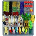 Fishing Lures Lot with Tackle Box,AGadget 204PCS/Lot Fishing Tackle Hard Soft Plastic Fishing Lures Freshwater Saltwater Fishing Kit Crankbait Minnow VIB Frog Lures Jighead Spoonbait Shrimp more
