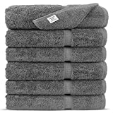 Premium Long-stable Turkish Cotton-Eco Friendly 6-Piece Washcloths (Gray)