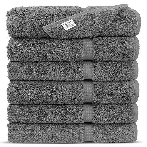 Premium Long-Stable Turkish Cotton-Eco Friendly 6-Piece Washcloths (Gray)