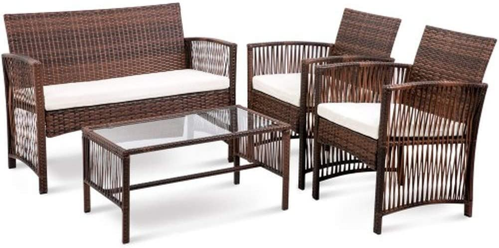 Hooseng Hoosng 4 Pieces Furniture Rattan Chair Table Patio Set Outdoor Sofa1, Brown-White
