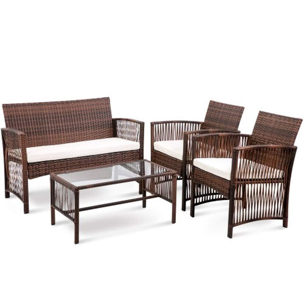 Hooseng Hoosng 4 Pieces Furniture Rattan Chair & Table Patio Set Outdoor Sofa1, Brown by Hooseng