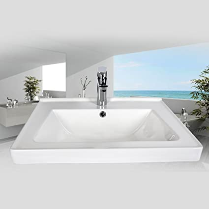 Ceramic Bathroom Vessel Sinks And Faucet Combo TOP Mounted White Porcelain  Rectangular Vanity Sink Oil Rubbed