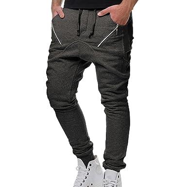 963e8a68998c Yying Lange Sporthose für Herren Männer Bequem Elastische Taille Haremshose  mit Kordelzug Mode Beiläufig Loose Trainingshose