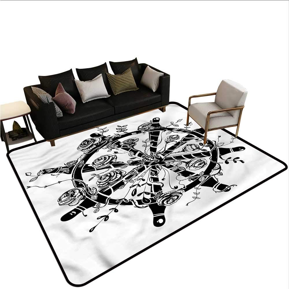 "B07SGCPGNQ Nautical,Thin Non-Slip Kitchen Bathroom Carpet 60""x 96"" Steering Wheel with Roses Small Rugs 61TYv8%2B9ZWL"