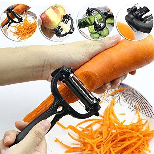 Teekini Durable Multi-function Stainless Steel Vegetable Fruit Slicer Cutter Rotating Peeler Kitchen Tools (Orange)