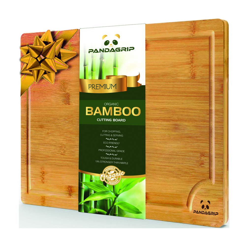 Extra Large organic 100% bamboo wood cutting board with juice groove. Best kitchen chopping board for meat (butcher block) cheese and vegetables | Anti Microbial Heavy Duty Serving Tray. professional grade Eco-friendly (45 x 30 x 2 cm) PandaGrip