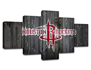 MIAUEN Houston Rockets Wall Art Posters Pictures Home Decor Canvas Prints 5 Piece NBA Basketball Sports Decoration Paintings Ready to Hang(60''Wx32''H)