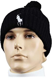 Polo Ralph Lauren Men s Windsor Polo Big Pony Ribbed Cuffed Pom Pom Beanie 7c84e41f20