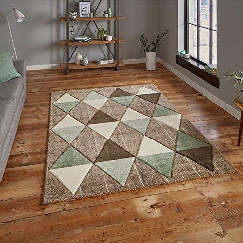 160 x 220 Cm Beige//Green Think Rugs Brooklyn 21896 Hand Carved Rug