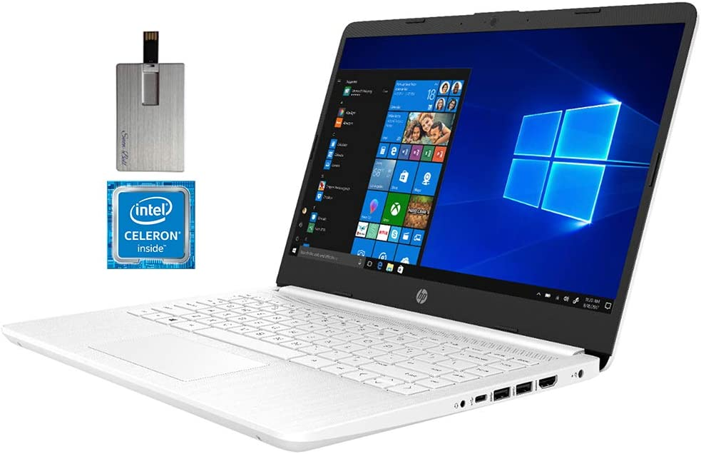 "2020 HP 14"" HD Laptop Computer, Intel Celeron N4020 Processor, 4GB RAM, 64GB eMMC Flash Memory, HD Audio, HD Webcam, Intel UHD Graphics 600, 1 Year Office, Win 10 S, White, 128GB SnowBell USB Card"