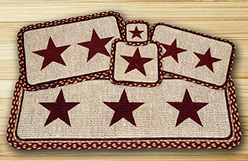 Burgundy Star with Tan Wicker Weave Table Top Set - 12 Piece