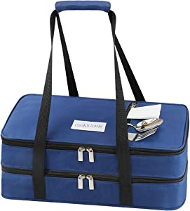 Aibeide Double Insulated Casserole Carrier Bag Lunch Bag, Fits 9x13 Inch Baking Dishes, Keep Hot or Cold Food Casserole Travel Tote Bags, for Potluck Parties, Picnic, Cookouts,Camping Hiking,Navy blue