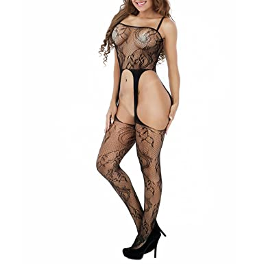 8e184a3f59b SSScok Womens Fishnet Sexy Lingerie Striped Open Crotch Bodysuits  Suspenders Bodystockings: Amazon.co.uk: Clothing