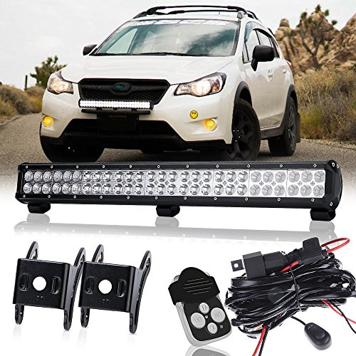 TURBOSII 25Inch Led Light Bar On Front Bumper Bull Bar Push Bar Grille Fog Lights For Truck Xj Vw Jetta Toyota Xterra Trailer Suzuki Eiger Boat Mower 4Wheeler Dodge Ram (Gmc Savana 2500 Grille)