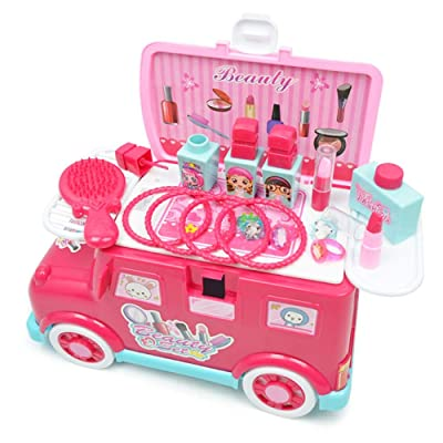 Wanlianer-Home Pretend Makeup For Girls Set de Maquillaje for niñas Kit de Maquillaje for niños Que Incluye Vanity Pretend Play Set Tocador de tocador (Color : Rosado, tamaño : 30x15x16.5cm): Hogar