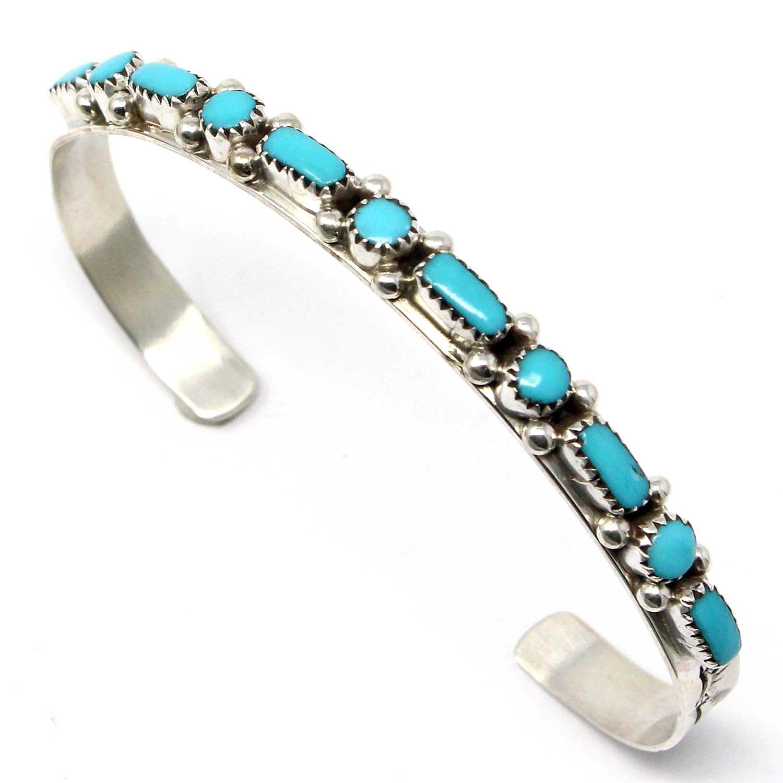 L7 Enterprises Zuni Sterling Silver & Turquoise Bracelet By Hannaweeke