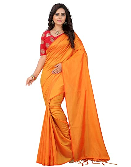 9817004c7974a e-VASTRAM Womens Plain Soft Art silk Tassel Saree With Unstitched  Embroidered Contrast Blouse(